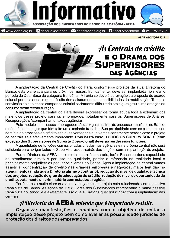 As Centrais de Crédito e o Drama dos Supervisores das Agências